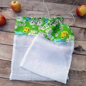 Ökozsák szett- környezetvédő bringás 2 darabos , Táska & Tok, Bevásárlás & Shopper táska, Zöldség/Gyümölcs zsák, Stílusos és környezetvédő bevásárlásokhoz  A szett tartalmaz: 1 db XL zsák (kb. 28x35 cm) 1 db L zsá..., Meska