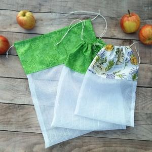 Ökozsák szett- zöld és levendulás, Táska & Tok, Bevásárlás & Shopper táska, Zöldség/Gyümölcs zsák, Stílusos és környezetvédő bevásárláshoz.  A szett tartalmaz: 1 db XL zsák (kb. 28x35 cm) 2 db L zsák..., Meska