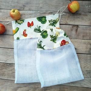 Ökozsák szett- zöldséges 2 részes, Táska & Tok, Bevásárlás & Shopper táska, Zöldség/Gyümölcs zsák, Stílusos és környezetvédő bevásárláshoz.  A szett tartalmaz: 1 db XL zsák (kb. 28x35 cm) 1 db L zsák..., Meska