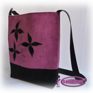 Lila-fekete kord női táska, egyedi virág motívummal díszítve (SzilvaFolt) - Meska.hu