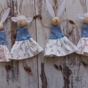 Nyuszi és bárány lányok..., Otthon & lakás, Gyerek & játék, Dekoráció, Ünnepi dekoráció, Húsvéti díszek, Gyerekszoba, Két bárány és két nyuszi lány lehet otthonod dísze. Ajtó, ág, szekrényfogantyú, csomag díszítésére i..., Meska