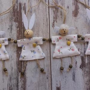 Nyuszi lányok, bárány lányok, Otthon & lakás, Gyerek & játék, Dekoráció, Ünnepi dekoráció, Húsvéti díszek, Gyerekszoba, Két nyuszilány és két bárány lány lehet otthonod dísze. Ajtó, ág, szekrényfogantyú, csomag díszítésé..., Meska