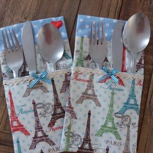 Elvihetlek Párizsba?, Otthon & Lakás, Konyhafelszerelés, Konyhai dísz, Varrás, Szép terítéknél kellemes az ebéd, a vacsora...\nEz az evőeszköztartó megszépíti a vacsora asztalt,  f..., Meska
