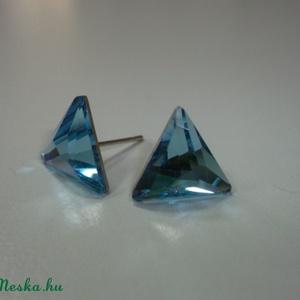 Swarovski háromszög fülbevaló!, Ékszer, Fülbevaló, Pötty fülbevaló, Ékszerkészítés, Üvegművészet, Meska