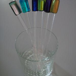 Üveg koktél keverő pálca!, Otthon & Lakás, Konyhafelszerelés, Pohár, Üvegművészet, Üveg koktél keverő pálcát készítettem fusing (rogyasztásos) technikával. Az üveg ellenálló, nem töri..., Meska