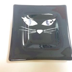 Kis tálka - cica!, Otthon & Lakás, Dekoráció, Díszüveg, Üvegművészet, Meska
