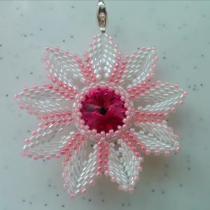 Pink swarovski medál, Ékszer, Nyaklánc, Medálos nyaklánc, Ékszerkészítés, Swarovski köves rózsaszín fehér színű nyaklánc. A medál gyöngyből készült, nem törékeny, tömör anyag..., Meska