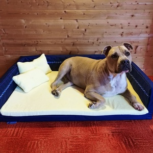 Új, minőségi, lehúzható és mosható kutyafekhely, kutyaágy, Otthon & lakás, Lakberendezés, Állatfelszerelések, Kutyafelszerelés, Varrás, -Mérete: 110 cm X 75 cm ; perem magassága 25cm\n-Cipzáron keresztül eltávolítható félkemény szivacsal..., Meska