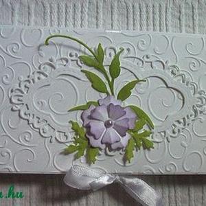 Ajándék dobozka 100 g-os csokira szabva, Naptár, képeslap, album, Otthon & lakás, Ajándékkísérő, Papírművészet, Fehér strukturált kartonból, dombormintás rátéttel, tintázott virágokkal készült csokoládé dobozka. ..., Meska