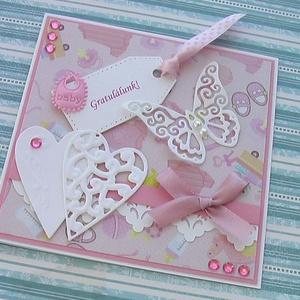 Gratulálunk!, Naptár, képeslap, album, Otthon & lakás, Ajándékkísérő, Képeslap, levélpapír, Papírművészet, Lányos, rózsaszín mintás scrapbook papírral készülő babaköszöntő gratuláló lap. A mintás papír a kés..., Meska