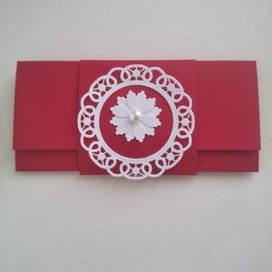 Menyecsketánc boríték, Naptár, képeslap, album, Otthon & lakás, Ajándékkísérő, Esküvő, Nászajándék, Papírművészet, Késztermék, azonnal viheted :)\nGyönyörű piros kartonból készült pénzátadó boríték menyecsketánc alka..., Meska