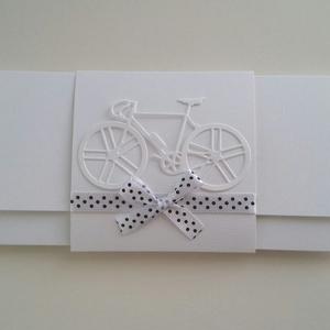 Kerékpár rajongóknak, Otthon & lakás, Naptár, képeslap, album, Ajándékkísérő, Esküvő, Nászajándék, Papírművészet, Gyönyörű fehér strukturált kartonból készült pénz vagy utalvány átadására alkalmas boríték.\nEgy kedv..., Meska