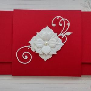 Menyecsketánc boríték, Naptár, képeslap, album, Otthon & lakás, Esküvő, Nászajándék, Papírművészet, Késztermék, azonnal viheted :)\nGyönyörű piros kartonból készült pénzátadó boríték menyecsketánc alka..., Meska