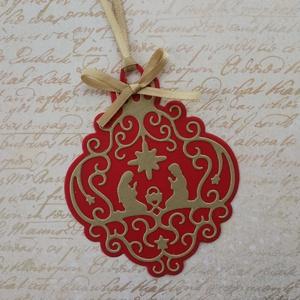 Piros-arany kíséret, Otthon & Lakás, Karácsony & Mikulás, Karácsonyi csomagolás, Papírművészet, Piros és óarany kartonból készült ajándékkártya, tőlem Neked. \nMérete kb. 8,5x7 cm. \nPont annyit veh..., Meska