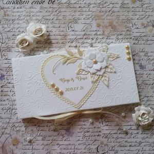 10,5x21x1 cm-es dobozka esküvőre, Otthon & lakás, Dekoráció, Ünnepi dekoráció, Ballagás, Naptár, képeslap, album, Ajándékkísérő, Papírművészet, A dobozka ajándékutalvány méretére készült, de nem csak azt lehet beletenni. \nAz általad kért szöveg..., Meska