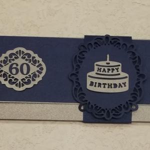Boldog születésnapot!, Képeslap & Levélpapír, Papír írószer, Otthon & Lakás, Papírművészet, Gyöngyházfényű sötétkék és króm  színű kartonból készült élmény ajándék vagy pénz átadására alkalmas..., Meska