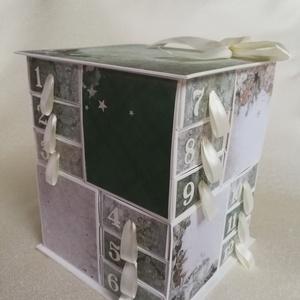 Erdőjáróknak, Adventi naptár, Karácsony & Mikulás, Otthon & Lakás, Papírművészet, Strukturált kartonból és scrapbook papírokból készült adventi naptár. A 24 dobozkát magam vágtam, ra..., Meska