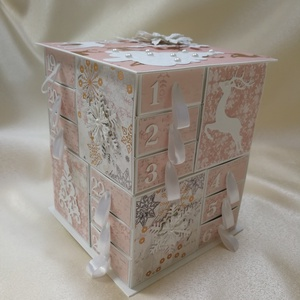 Hercegnőmnek, Adventi naptár, Karácsony & Mikulás, Otthon & Lakás, Papírművészet, Saját tervezésű és méretezésű, fehér kartonból és rózsaszín árnyalatú scrapbook papírokból sok-sok g..., Meska