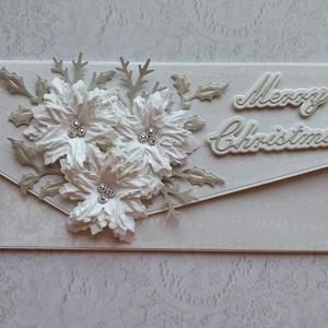 Karácsony virága fehérben, Otthon & Lakás, Karácsony & Mikulás, Karácsonyi csomagolás, Papírművészet, Karácsonyra készítettem pénz vagy élményátadó borítékot mágneses záródással, saját készítésű fehér m..., Meska