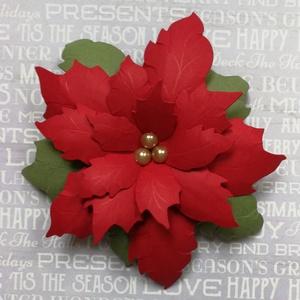 Papír mikulásvirág , Karácsonyi dekoráció, Karácsony & Mikulás, Otthon & Lakás, Papírművészet, Papírból készült nagyméretű, kb. 10 cm átmérőjű mikulásvirág. Közepén három kicsi vagy egy nagy bézs..., Meska