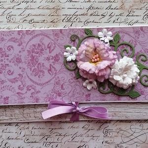 Ajándékátadó boríték 2., Otthon & Lakás, Papír írószer, Boríték, Papírművészet, Cuki pénz vagy ajándékkártya átadására alkalmas boríték mini megkötővel, sk. virágokkal. Ezzel a min..., Meska