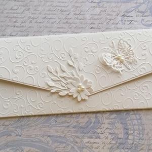 Egyszerűen elegáns virágos , Otthon & Lakás, Papír írószer, Boríték, Papírművészet, Egyszerű, letisztult, elegáns...\nEsküvőre,  évfordulóra, születésnapra.\nCsak így egyszerűen.\nTörtfeh..., Meska