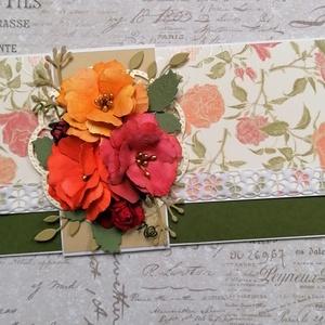 Ajándékátadó boríték sk. virágokkal, Boríték, Papír írószer, Otthon & Lakás, Papírművészet, Pénz vagy ajándékkártya átadására alkalmas boríték  szalaggal, sk. virágokkal. Ezzel a mintával, ebb..., Meska