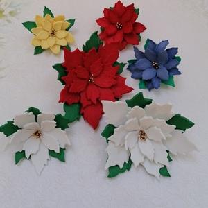 Dekorgumi mikulásvirágok, Otthon & Lakás, Karácsony & Mikulás, Karácsonyi dekoráció, Papírművészet, Saját készítésű dekorgumiból készült virág, többféle méretű és formájú mikulásvirág. \nKültérre is al..., Meska