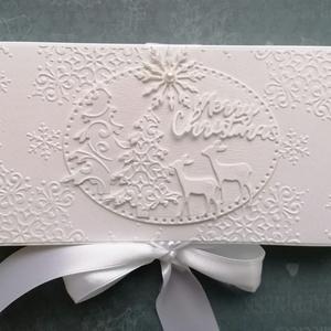 Fehér csokidobozka, Karácsony, Karácsonyi ajándékcsomagolás, Karácsonyi ajándékozás, Papírművészet, Meska