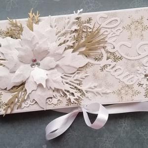 Csokidobozka nagy mikulásvirággal, Karácsony, Karácsonyi ajándékcsomagolás, Karácsonyi ajándékozás, Papírművészet, Meska