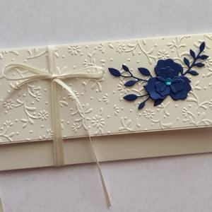 Fehérarany kék virágos akció, Otthon & Lakás, Papír írószer, Boríték, Papírművészet, Meska