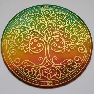 Életfa mandala, Mandala, Dekoráció, Otthon & Lakás, Selyemfestés, 20 cm átmérőjű kézzel festett egyedi selyemkép. Az Életfa   többek között a Föld és Ég közötti össze..., Meska