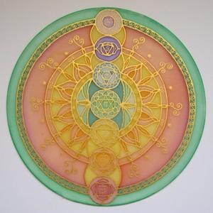 Csakra mandala, Mandala, Dekoráció, Otthon & Lakás, Selyemfestés, 25 cm átmérőjű, saját tervezésű, kézzel festett egyedi selyem mandala. Központi eleme a csakrasor, m..., Meska