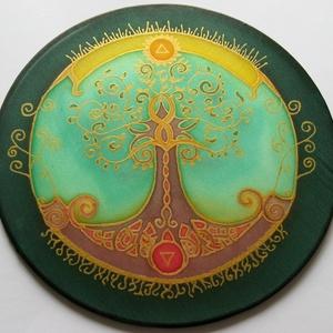 Életfa mandala, zöld, Mandala, Dekoráció, Otthon & Lakás, Selyemfestés, 20 cm átmérőjű kézzel festett egyedi selyemkép. Az Életfa többek között a Föld és Ég közötti összekö..., Meska