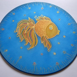 Szívárvány hal, Dekoráció, Otthon & lakás, Kép, Selyemfestés, 25 cm átmérőjű kézzel festett egyedi selyemkép. Játékos, vidám képnek készült, a halacska egyediségé..., Meska