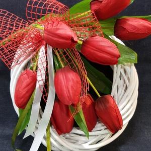 Piros tulipános tavaszi ajtókopogtató, ajtódísz (szineshangulatok) - Meska.hu