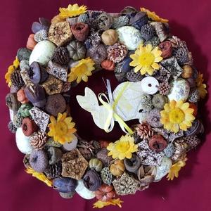 Sárga nyuszis húsvéti ajtó dísz, Otthon & Lakás, Dekoráció, Ajtódísz & Kopogtató, Mindenmás, Virágkötés, 20 cm-es alapot natúr és narancs színű termésekkel, sárga művirágokkal és sárga hungarocell tojásokk..., Meska