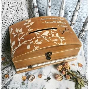 Persely láda - Szeretni és Szeretve lenni (névreszóló rusztikus pénzgyűjtő doboz), Esküvő, Emlék & Ajándék, Nászajándék, Festett tárgyak, Fotó, grafika, rajz, illusztráció, Visszafogott stílus, természetes harmónia, fába zárt szeretet...\n\n>> HA esküvőre mész, és már megunt..., Meska