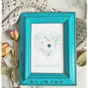 Türkizkék Vintage Képkeret 9x13 cm (fényképtartó, képtartó, nászajándék, esküvő, asztalszám, fotózás, kép), Otthon & lakás, Esküvő, Lakberendezés, Képkeret, tükör, Esküvői dekoráció, Visszafogott stílus, természetes harmónia, fába zárt szeretet...  >>> Ezekkel a festett képkeretekke..., Meska
