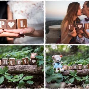 Dekorkocka 5 db szettben - 5x5cm (betűs dekor kocka, esküvő, kismamafotózás, baba , számláló, fotózási kellék (szinharmonia) - Meska.hu