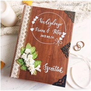 """Vendégkönyv - Rusztikus könyvdoboz (különleges egyedi alternatív, esküvő, dekoráció, emlékőrző könyv, rusztikus), Esküvő, Esküvői dekoráció, Nászajándék, Otthon & lakás, Lakberendezés, Tárolóeszköz, Doboz, Festett tárgyak, Fotó, grafika, rajz, illusztráció, Ennek a könyvnek a \""""lapjain\"""" Ti szerepeltek, nyissátok hát ki és élvezzétek minden pillanatát!\n\nViss..., Meska"""