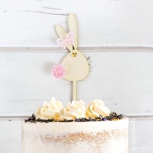 Duci nyuszis tortabeszúró rózsaszín virággal (virágdísz, torta dekoráció, torta dísz, süti, sütemény, tortába szúrható) (szinharmonia) - Meska.hu