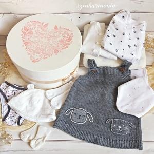 Babaköszöntő ajándékcsomag - Leveles Szív - LIMITÁLT (újszülött kislány babaváró csomag), Játék & Gyerek, Babalátogató ajándékcsomag, Festett tárgyak, A járványhelyzet miatt egy időre le kell mondanunk a baba látogatásokról, de szerencsére ma már a tá..., Meska