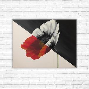 Virágszál - akril festmény, Otthon & lakás, Képzőművészet, Festmény, Akril, Festészet, Egyedi, feszített vászonra készült akril festmény. \nKeretezést nem igényel, azonnal falra tehető.\nMé..., Meska