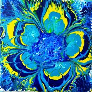 Kék-sárga virág, Otthon & lakás, Dekoráció, Kép, Képzőművészet, Festmény, Akril, Festészet, Feszített vászon kereten akryl fluid technikával készült 20 cm x 20 cm-es kép. Külön keretre nincs s..., Meska