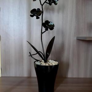 Orchidea, Otthon & Lakás, Dekoráció, Csokor & Virágdísz, Kovácsoltvas, Fémmegmunkálás, Ez az egyedi, rendkívül dekoratív kovácsoltvas orchidea igényes, aprólékos munkával, és nagyon nagy ..., Meska
