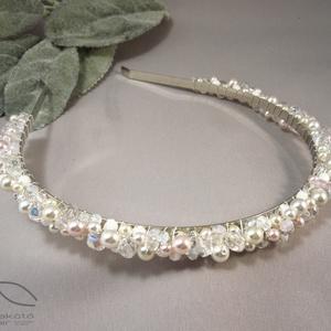 Borzaska esküvői hajpánt, Hajpánt, Hajdísz, Esküvő, Ékszerkészítés, Rengeteg Swarovski üveggyöngy és cseh csiszolt gyöngy felhasználásával készült a hajpánt, amely reme..., Meska