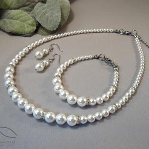 Egyszerű gyöngysor esküvőre Swarovski gyöngyből rondellákkal, Esküvő, Ékszer, Ékszerszett, Ékszerkészítés, Gyöngyfűzés, gyöngyhímzés, Swarovski üveggyöngyök és strasszos rondellák felhasználásával készült a szett klasszikus gyöngysor ..., Meska