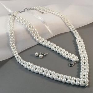 Lily szett, Esküvő, Ékszer, Ékszerszett, Ékszerkészítés, Fehér üveggyöngyök felhasználásával készült a szett.\nNincs túlgondolva, nemes egyszerűséggel készült..., Meska