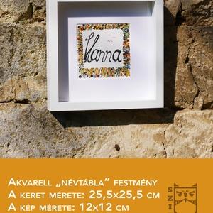 Hanna akvarell festmény, Akvarell, Festmény, Művészet, Festészet, Egyedi akvarell festmény névtábla. Névnapra tökéletes ajándék ez a kis akvarell kép. , Meska